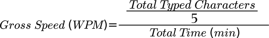 English typing test [ gross speed formula ]